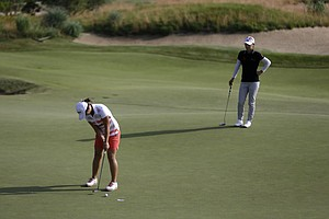 Na Yeon Choi during the first round of the 2013 U.S. Women's Open at Sebonack in Southampton, N.Y.