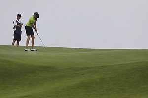 Maude-Aimee LeBlanc during the second round of the 2013 U.S. Women's Open at Sebonack in Southampton, N.Y.