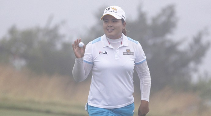 Inbee Park finishes her second round at the U.S. Women's Open at Sebonack in the fog – with a birdie.