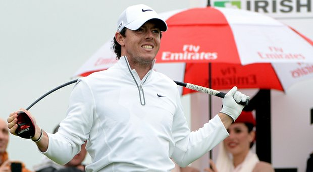 Rory McIlroy bends his driver after his tee shot on the 11th tee during the second round of the Irish Open.