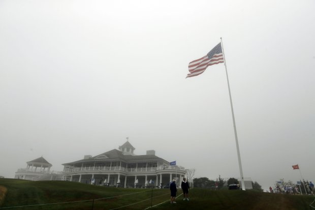 Fog shrouds Sebonack Golf Club at the start of the final round of the 2013 U.S. Women's Open.