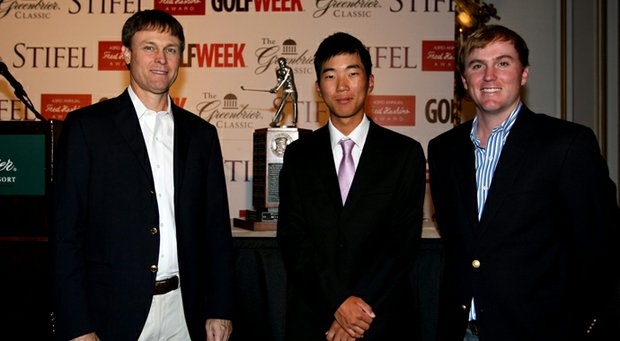 Past Haskins Award winners, Bob Estes, left, and Russell Henley, right, flank 2013 winner Michael Kim at the 2013 Haskins Award presentation at the Greenbrier Resort.