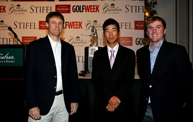 Past Haskins Award winners, Bob Estes, left, and Russell Henley, right, flank the 2013 winner, Michael Kim at the 2013 Haskins Award presentation at Greenbriar Resort.
