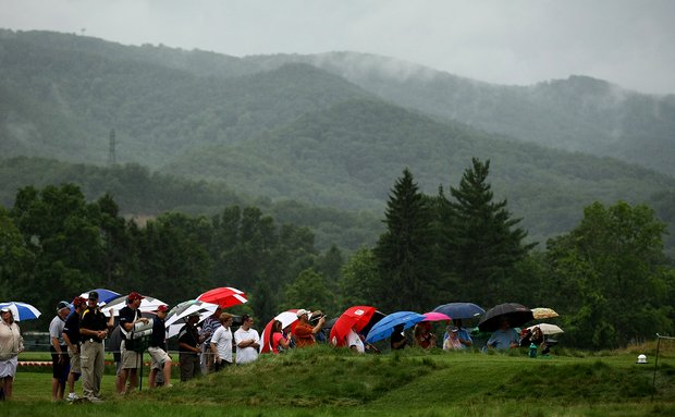 Spectators line the tee box at No. 17 to watch Phil Mickelson, Jim Justice, the owner of The Greenbrier and West Virginia senator Joe Manchin, during the Old White Pro-Am.