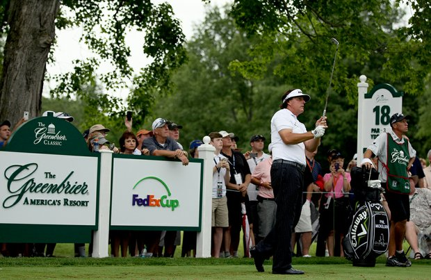 Phil Mickelson hits a shot at No. 18 in Wednesday's Old White Pro-Am.
