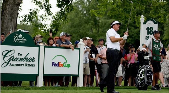 Phil Mickelson during the pro-am before the 2013 Greenbrier Classic.