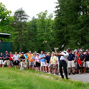 Bubba Watson watches his third shot on the 5th hole during the second round of the Greenbrier Classic.