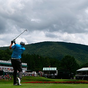 Tommy Gainey hits his tee shot on the 18th hole during round two of the Greenbrier Classic.