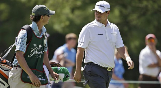 Johnson Wagner and his caddie during the third round of the 2013 Greenbrier Classic.