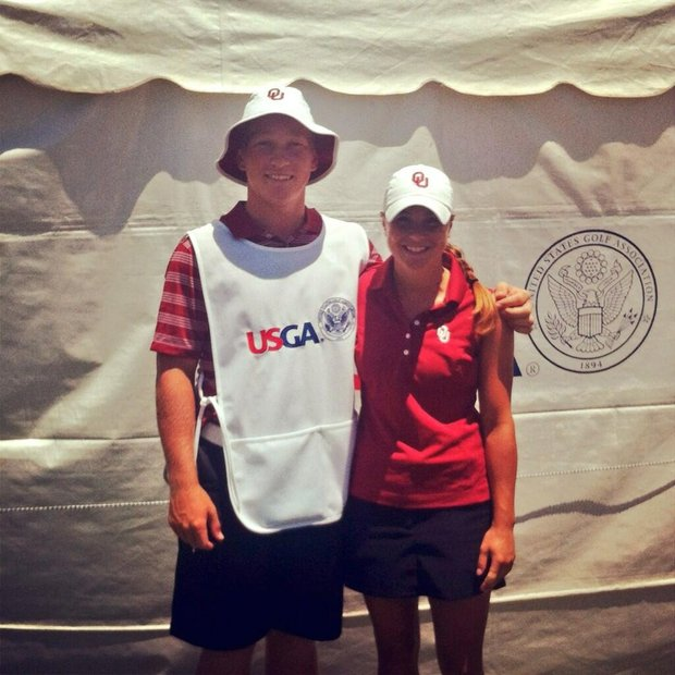 Brad Dalke and Oklahoma golfer A.C. Tanguay during the U.S. Women's Amateur Public Links.