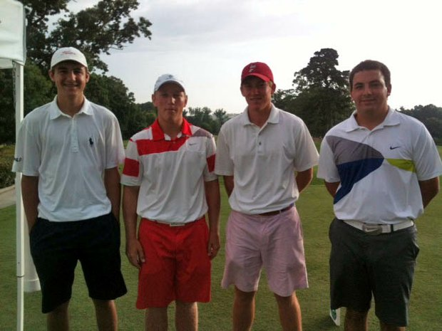 Brad Dalke, second from left, with playing competitors Scottie Scheffler and Robby Shelton during the Dogwood Invitational.