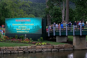 Play is suspended due to inclement weather during the final round of the Greenbrier Classic at the Old White TPC.