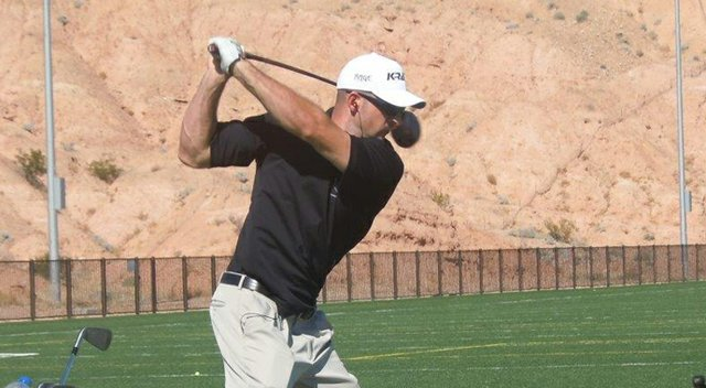 Brendon Jacks during the local qualifier for the Amputee Long Drive Championships.