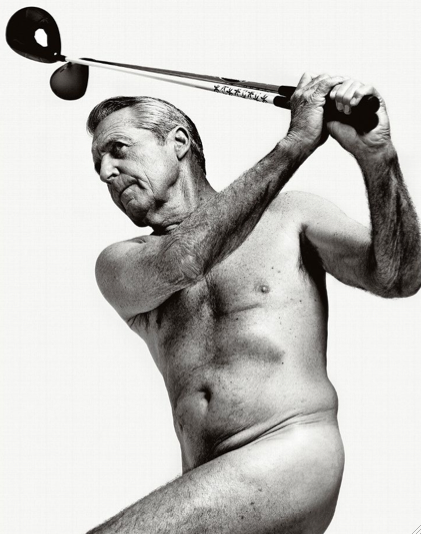 Gary Player swinging golf clubs in the 2013 ESPN's Body Issue.