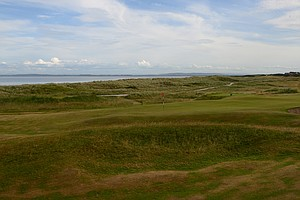 The 11th hole at historic Royal Dornoch golf links in Scotland.