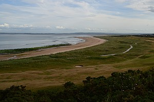The 12th hole at historic Royal Dornoch golf links in Scotland.