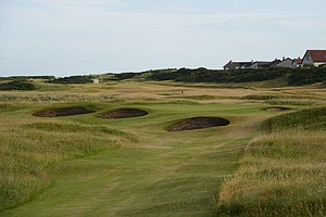 The 13th hole at historic Royal Dornoch golf links in Scotland.