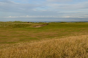 The 14th hole at historic Royal Dornoch golf links in Scotland.
