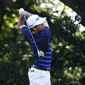 Keegan Bradley hits a drive during the first round of the John Deere Classic.
