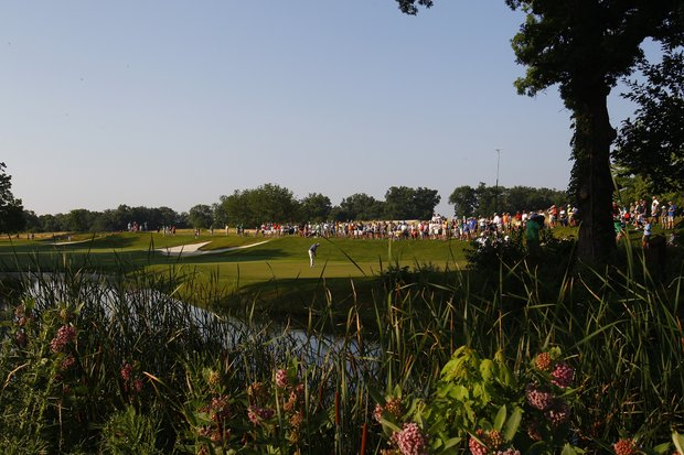 A general view of the 10th green during the first round of the John Deere Classic.