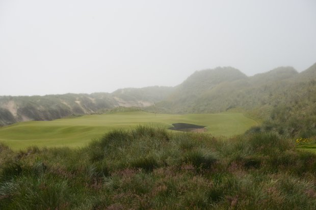 A look at the par-3 third hole from the tee at Trump Scotland.