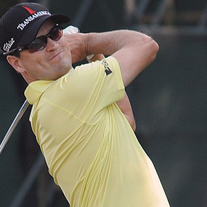 Zach Johnson tees off on the 15th hole during the John Deere Classic.