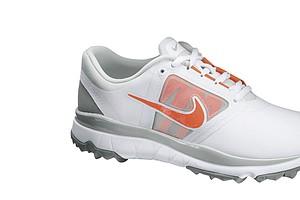 Women's White/Turf Orange Nike FI Impact golf shoe