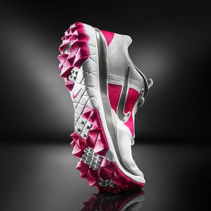 Women's White/Vivid Pink Nike FI Impact golf shoe