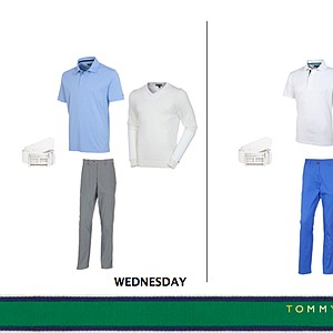 Tuesday and Wednesday's Tommy Hilfiger Golf outfits for Keegan Bradley at the 2013 Open Championship.