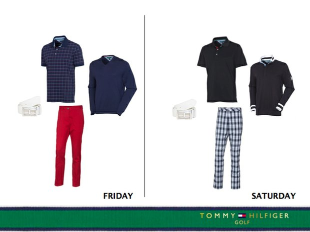 Friday and Saturday's Tommy Hilfiger Golf outfits for Keegan Bradley at the 2013 Open Championship.