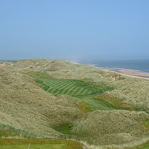A view of the 14th hole at Trump Scotland from the tee box.
