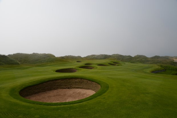 A look at the bunkers that line the fourth hole at Trump Scotland.