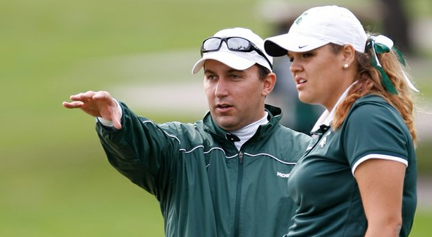 Lorne Don talks to Michigan State's Liz Nagel while Don was a Spartans assistant in 2013.