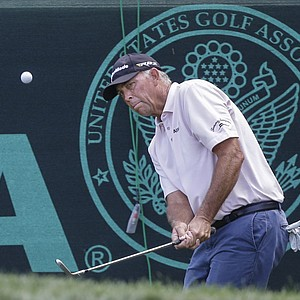 Tom Lehman during the second round of the 2013 U.S. Senior Open at Omaha (Neb.) CC.