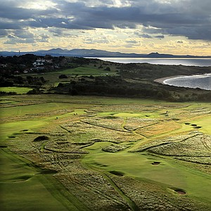 An aerial view of the par-4 14th hole with the par-4 15th hole behind at The Honourable Company of Edinburgh Golfers Muirfield, the venue for the 2013 Open Championship.