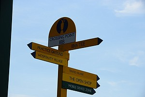 A directional sign on the course at Muirfield ahead of this week's Open Championship.