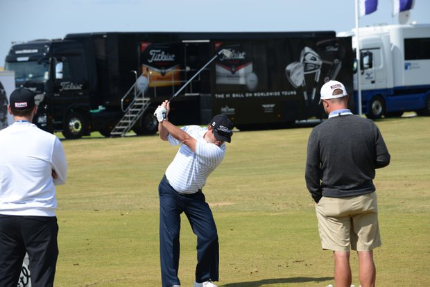 Tim Clark works on his swing on the range at Muirfield ahead of the 2013 Open Championship.