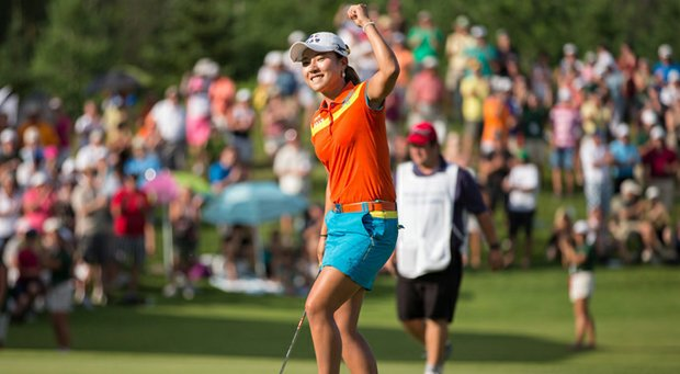 Hee Young Park celebrates her victory at the Manulife Financial LPGA Classic.
