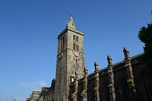 The church spire on the campus of the University of St. Andrews.