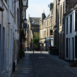 This is College Street, a typical back street in St. Andrews.