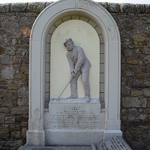 """Young Tom Morris has a very elaborate tombstone.  Here's what it says:  IN MEMORY OF  """"TOMMY""""  SON OF THOMAS MORRIS. WHO DIED 25TH DECEMBER 1875 AGED 24 YEARS  DEEPLY REGRETTED BY NUMEROUS FRIENDS AND ALL GOLFERS HE THRICE IN SUCCESSION WON THE CHAMPION'S BELT AND HELD IT WITHOUT RIVALRY AND YET WITHOUT ENVY HIS MANY AMIABLE QUALITIES BEING NO LESS ACKNOWLEDGED THAN HIS GOLFING ACHIEVEMENTS"""