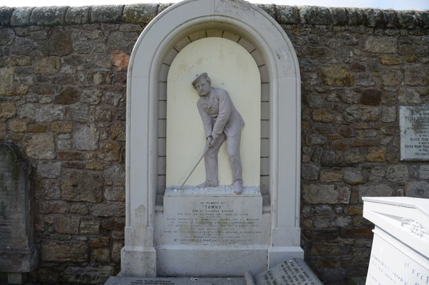 Young Tom Morris has a very elaborate tombstone.  Here's what it says:
