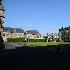 A courtyard on the picturesque campus of the University of St. Andrews.
