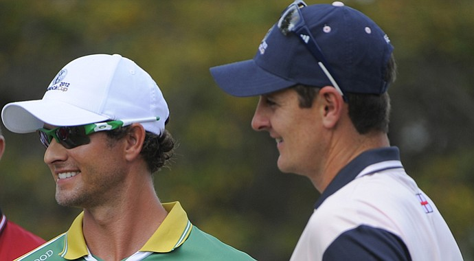 Adam Scott (left) and Justin Rose during the 2013 Tavistock Cup.