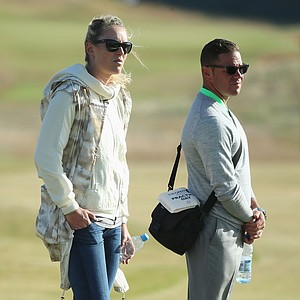 Skier Lindsey Vonn and Tiger Woods' coach Sean Foley ahead of the Open Championship at Muirfield.