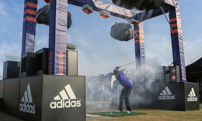 Dustin Johnson wears the new adidas GORE-TEX rain suit in different weather conditions