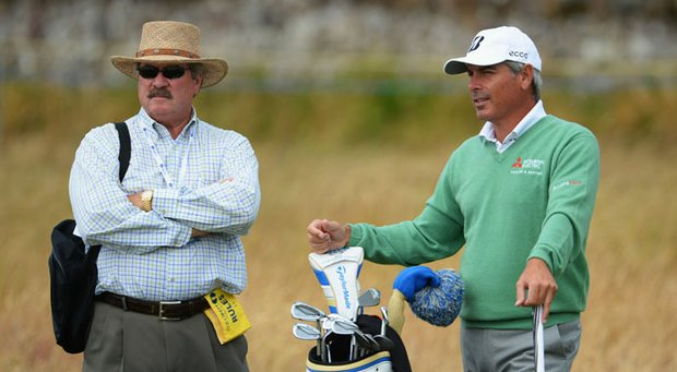 Fred Couples, right, and Slugger White during a practice round Tuesday for Open Championship at Muirfield in Gullane, Scotland.