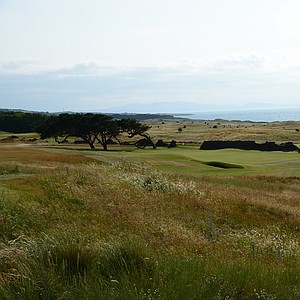 The par-3 11th hole swings back inland at the Renaissance Club, but still have breathtaking views of the North Sea.