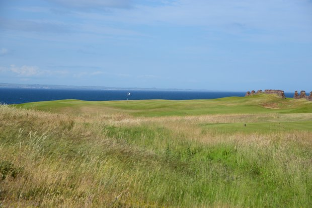 The beginnings of the North Sea immediately grab your attention as you walk the the ninth tee at Renaissance Club.  Wind is a huge factor on how this holes plays, but the visual splendid of the hole takes your focus away a bit.