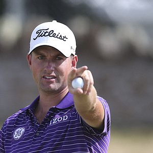 Webb Simpson gestures on the 9th green during a practice round Tuesday ahead of the Open Championship at Muirfield.